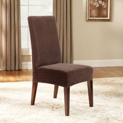 Sure Fit Stretch Pinstripe Short Dining Chair Cover, Chocolate