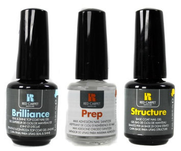 Red Carpet Manicure UV Led Soak Off Gel Nail Polish Top Base and Prep 3-Pack 9mL