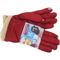 Grandoe Women's Red Cozy Lamb Suede Sensor-Touch Texting Gloves, Medium