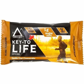 Keto Snack NATERA Supplement Bar (6-Pack) Vanilla Cheesecake, Low Carbs for Ketogenic Dieters