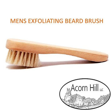 Beard Brush - Mens Facial Exfoliating Beard & Mustache Tool (Perfect Grooming Accessory for use with Beard Balms & Oils)