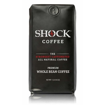 Shock Coffee Whole Bean. The Strongest Caffeinated All Natural Coffee, Up to 50% more Caffeine than Regular Coffee, 1 pound