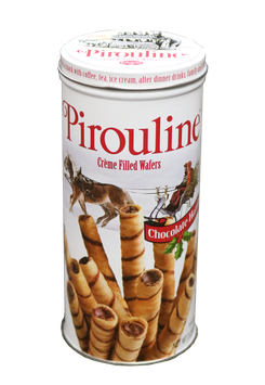 De Beukelaer Pirouline Chocolate Hazelnut Creme filled rolled wafers in small tin
