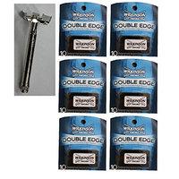 Double Edge Safety Razor + Wilkinson Sword Double Edge Razor Blades, 10 ct. (Pack of 6) + FREE Scunci Black Roller Pins, 18 Pcs