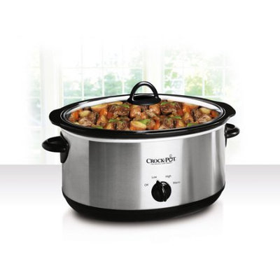 Crock-pot - 5-quart Slow Cooker - Stainless Steel/black