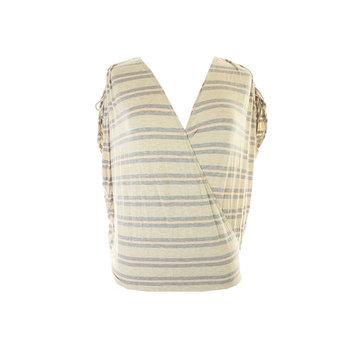 Studio M Peach Grey Shoulder-Tie Striped Faux-Wrap Top L