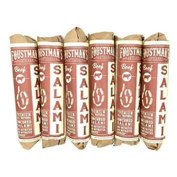 Foustman's Salamis (Beef) Artisan, Nitrate-Free, Naturally Cured (Pack of 6)