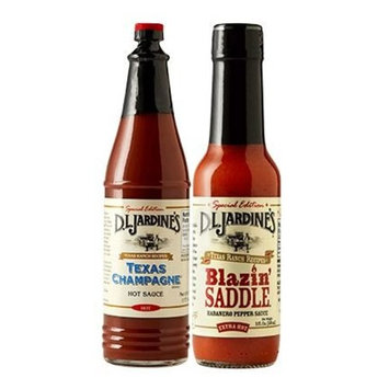 D.L. Jardines Texas Champagne Cayenne Pepper Sauce 6 oz & Blazin Saddle Habanero XXX Hot Sauce, 5 oz (2 Bottle Variety Pack)