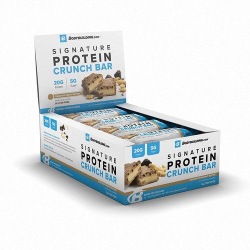 Bodybuilding.com Chocolate Peanut Butter Signature Protein Crunch Bar   20g Whey Protein Low Sugar   Gluten Free No Artificial Flavors   12 Bars