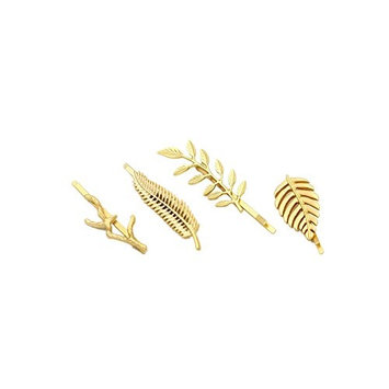 GBJewelry Gold Fine Leaf Hair Clips Set for Medium Long Hairstyle(4pcs) Women Hair Accessories