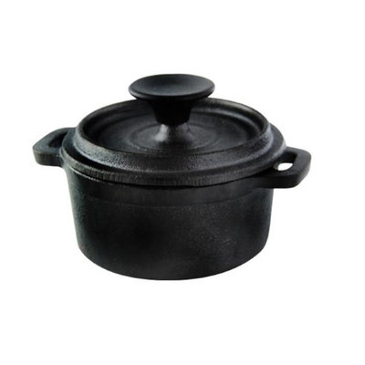 Packnwood 294GSFTC230 8 oz Mini Round Cast Iron Casserole with Lid 3.94 in.