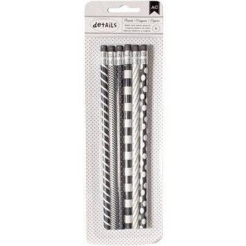 American Crafts Designer Desktop Essentials Pencils 6/Pkg-Black & White
