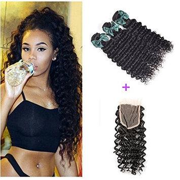 Brazilian Hair Deep Wave 3 Bundles with 4x4 Lace Closure(10