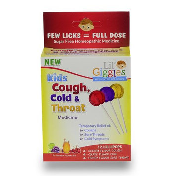 Maxrelief Lil' Giggles Kid's Cough, Cold & Throat Medicated Lollipops Variety Pack - For Childrenâ s Persistent Cough, Cold and Sore Throat. Homeopathic Remedy. The Medicine Kidâ s will LOVE to take.