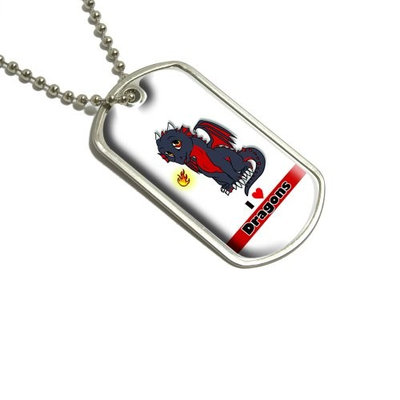 Dragon Baby I Love Heart Dragons Red Military Dog Tag Luggage Keychain