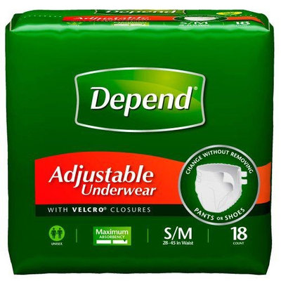 Depend Adjustable Super Plus Absorbency Underwear Small / Medium,