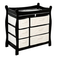 Black Sleigh Style Changing Table with Six Baskets by Badger Basket # 02413
