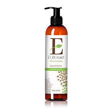 Elixirme-Charcoal Face Cleanser-Natural & Organic-Anti Aging-Renew Skin While Moisturizing-Aloe Vera Gel-Coconut Oil-Daily Acne Skincare-Exfoliating for Smooth...