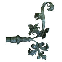 1 1/4 in. Drapery Finial - Extended Leaf - Set of 2 (Black)