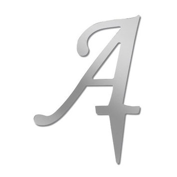 Darice VL3A Mirror Acrylic Initial Letter Cake Topper with Stake, Alphabet A, 3-Inch