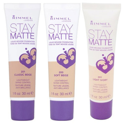 Rimmel Stay Matte Liquid Mousse Foundation Soft Beige, Classic Beige and Light Ivory with Dimple Bra