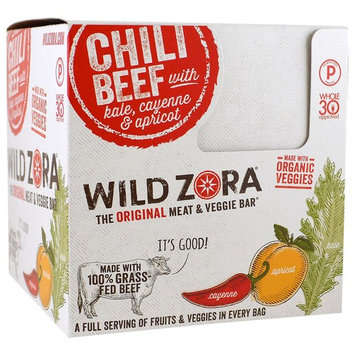 Wild Zora Foods LLC, Meat & Veggie Bar, Chili Beef With Kale, Cayenne & Apricot, 10 Packs, 1.1 oz (31 g) Each(pack of 1)