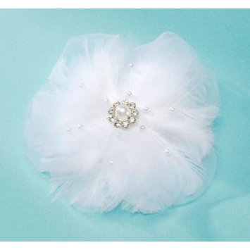 David Tutera Hair Comb - Silk & Feather Flower - White - 4 inches