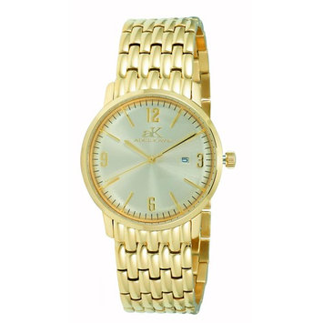 Adee Kaye Unisex Dome 40mm Gold-Tone Steel Bracelet & Case Quartz Analog Watch AK8224-LGG