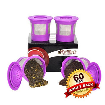 4 Reusable K Cups for Keurig 2.0 & 1.0 Coffee Makers. Universal Refillable KCups, Keurig filter, Reusable kcup, k cup k-cups reusable filter by Delibru BPA FREE