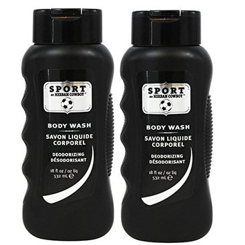 Herban Cowboy Deodorizing Body Wash, Sport, (Pack of 2) with Coco-Betaine and Zinc Citrate, 18 fl. oz.