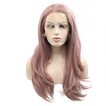 Ebingoo Free Part Pink Long Natural Wave Hair Replacement Wigs Heat Resistant Fiber Synthetic Lace Front Wig (20 inches)