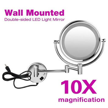 Wall Mounted Makeup Shaving Mirror-8.5inch,Double-Sided, LED Lighted Mirror,1x/10x Magnification,360° Swivel Bathroom Mirror, Polished Chrome,Silver
