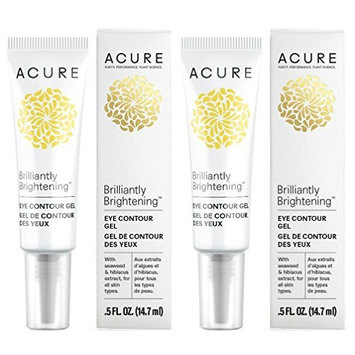 Acure Brilliantly Brightening Eye Contour Gel (Pack of 2) with Rye Seed Extract, Sunflower Seed Oil, and Grape Seed Oil.5 fl. oz.
