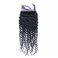 Closure Kinky Curly Virgin Brazilian Hair 130% Density Lace 4X4 Bleached Hair Soft Silky and Strong Natural Hair Color (10