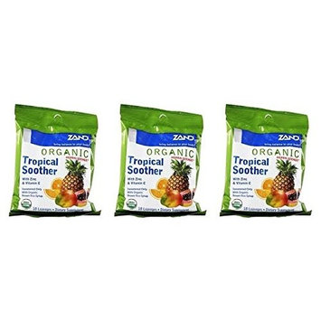Zand HerbaLozenge Organic Tropical Soother (Pack of 3) With Zinc, Vitamin C, Sage, Thyme and Stevia, 18 count each.