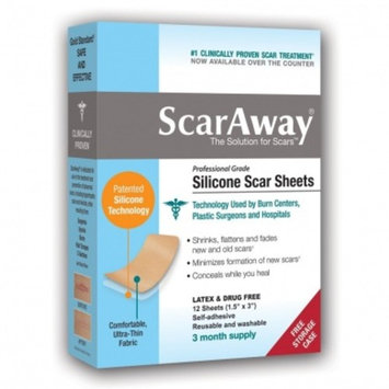 ScarAway Professional Grade Silicone Scar Treatment Sheets, 12 Count [1]
