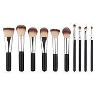 Aribelly 10PCS Make Up Foundation Eyebrow Eyeliner Blush Concealer Brushes (black)