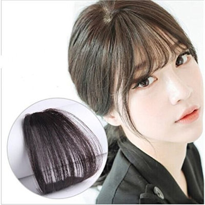 Synthetic Mini Air Bangs Clip in Flat Fake Fringe Straight Hairpieces