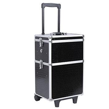 Songmics large Beauty Nail art Storage Tool Kit Trolley alu 3-in-1 black JHZ03B