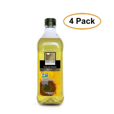 Native Harvest Expeller Pressed High Oleic Non-GMO Sunflower Oil, 1 Liters (33.8 FL OZ), 4 Pack