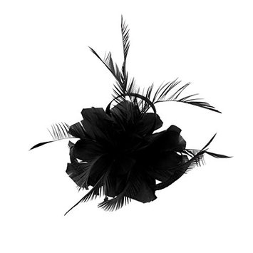 MonkeyJack Retro Woman Feather Fascinator 20s Gatsby Wedding Church Ascor Races Hair Clip - Black