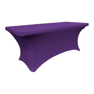 LA Linen TCSpandex96x30x30-PurpleX23 Rectangular Spandex Tablecloth Purple - 96 x 30 x 30 in.