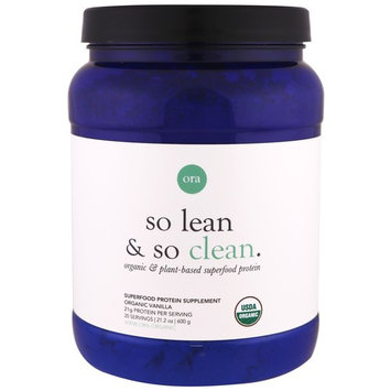 Ora, So Lean & So Clean, Organic & Plant-Based Superfood Protein, Organic Vanilla, 21.2 oz (600 g) [Flavor : Vanilla]