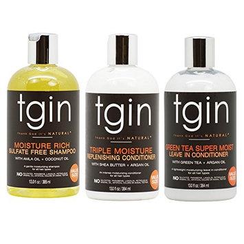 tgin Moisture Rich Sulfate Free Shampoo + Triple Moisture Replenishing Conditioner + Green Tea Super Moist Leave in Conditioner 13oz