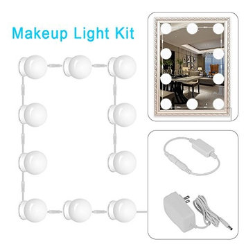 Missbee Makeup Mirror Light Bulb, Hollywood Style LED Vanity Mirror Lights Kit with 10 Dimmable Bulbs for Dressing, Cosmetic, Bathroom, Mirror Not Included Missbee Makeup Mirror Light Bulb, Hollywood