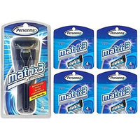 Personna Matrix3 Advanced Triple Blade Razor Handle + Matrix3 Titanium Triple Blade Refill Cartridge Blades, 4 Ct. (Pack of 4) + FREE Schick Slim Twin ST for Dry Skin