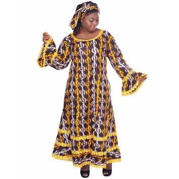 African Planet Women's Dress Brown Ethnic Nigerian Lace Flared Hem Matching Headwrap Gele Kitenge