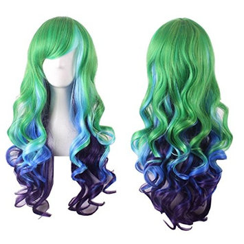 YaRui Long Curly Green Blue Ombre Cosplay Fashion Wig with Side Bangs Heat Resistant Synthetic Wigs for Costume Party 28