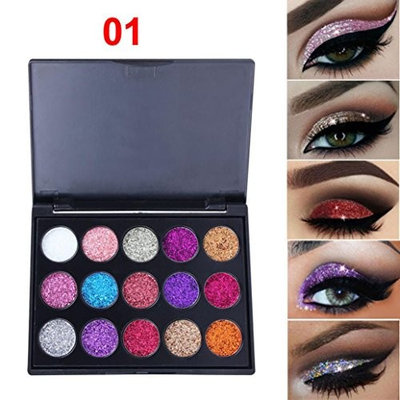 Eyeshadow Pallets with Glitter for Girls Womens Teens, Iuhan 15 Colors Shimmer Glitter Eye Shadow Powder Palette Matte Eyeshadow Cosmetic Makeup