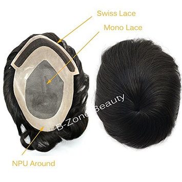 Swiss Lace Frontal Mono Based NPU around Soft Human Hair Mens Toupee Hair Replacement Systerm (7